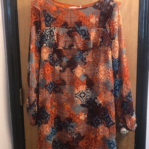 Paper Crane orange and turquoise dress